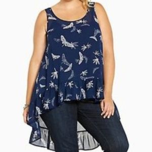 Torrid Navy and White Chiffon Dragonfly Hi Lo Top